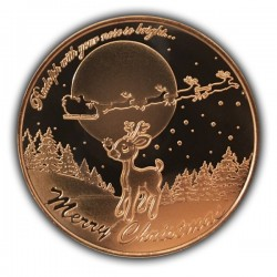 1 Oz Rudolph Red-Nosed Reindeer Copper Round