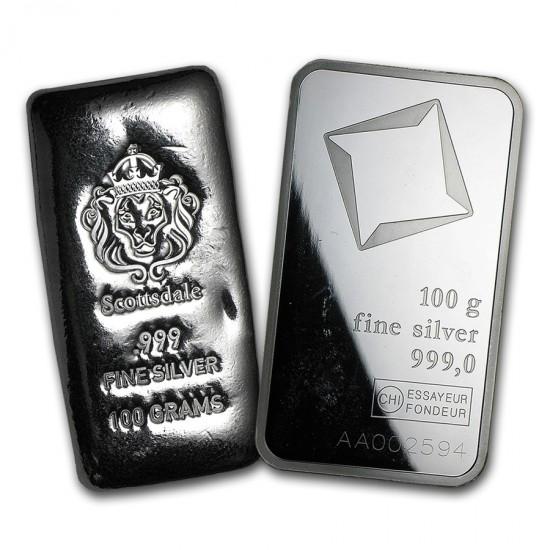 100g Assorted .999 Fine Silver Bar