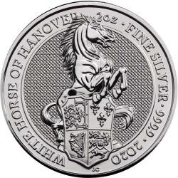 2020 2 Oz British Silver Queen's Beast White Horse