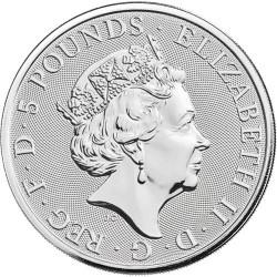 2020 2 Oz British Silver Queen's Beast White Lion