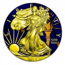 2015 1 Oz Indiana Flag American Eagle Gilded