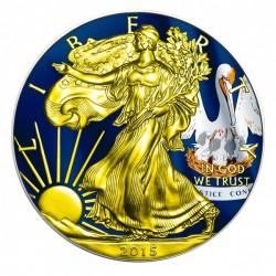 2015 1 Oz Louisiana Flag American Eagle Gilded
