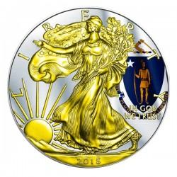 2015 1 Oz Massachusetts Flag American Eagle Gilded