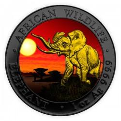 2016 1 Oz Sunset Ruthenium Gilded Elephant