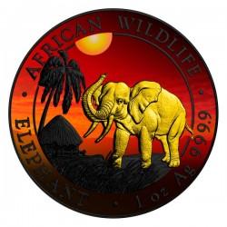 2017 1 Oz Sunset African Elephant Ruthenium Gilded