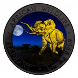 2016 1 Oz Ruthenium Night Elephant Gilded