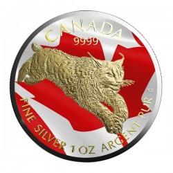 2017 1 Oz Canada Lynx Flag Gilded