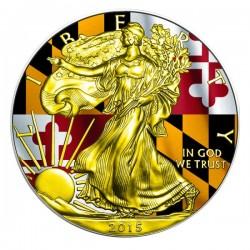 2015 1 Oz Maryland Flag American Eagle Gilded