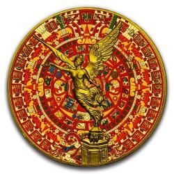 2017 1 Oz Aztec Calendar Gilded Mexican Libertad