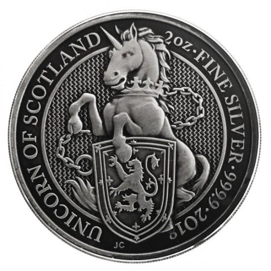 2018 2 Oz UK Antique Queen's Beasts (The Unicorn)